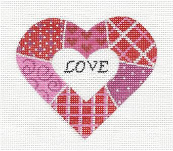 Heart~Patchwork LOVE Heart Red, Pink, White handpainted Needlepoint Canvas Pepperberry