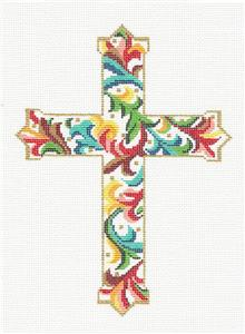 "Cross~  Elegant 7"" tall Florentine CROSS handpainted Needlepoint Canvas by LEE"