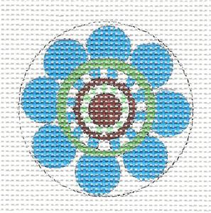 Round~Blue Flower Pop handpainted Needlepoint Canvas by DG from Artists Collection