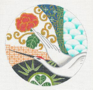 Round ~Graceful Japanese Crane handpainted Needlepoint Canvas Ornament Coaster by Leigh