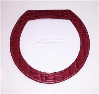 "Accessory~LEE Deep Red Alligator Leather Folding Purse Mirror for a 3"" Needlepoint Canvas"