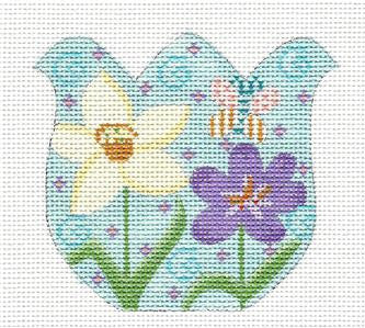 Tulip-Tulip with Flowers & Butterfly on Handpainted Needlepoint Canvas by Danji Designs
