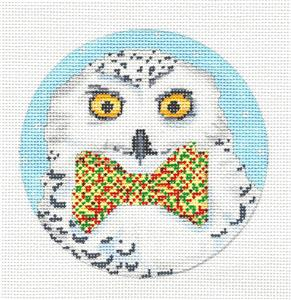 Round-Snowy Owl in Bowtie Handpainted Needlepoint Ornament by Scott Church **MAY NEED TO BE SPECIAL ORDERED**