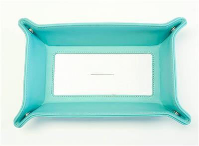 "Accessory~LG. Teal Leather Rect. Snap Tray for a 4"" Rd. Needlepoint Canvas by LEE"