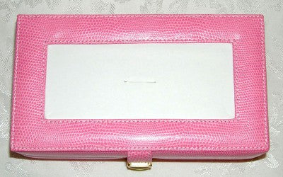 Accessory~LEE Light Pink Leather Jewelry Box with Interior Compartments for Needlepoint