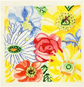 Small Sunshine Garden handpainted 13m Needlepoint Canvas by Jean Smith Designs