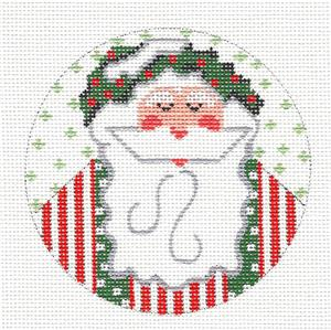 Round-Santa with a Holly Wreath Hat handpainted Needlepoint Canvas CH Designs -Danji