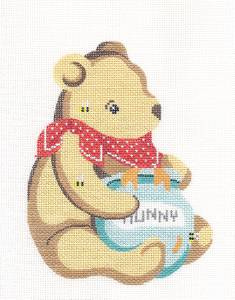 "Canvas~Childs ""Hunny Bear"" ""Pooh"" handpainted Needlepoint Canvas Ornament Silver Needle"