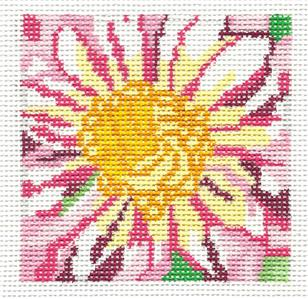 "Pink Dahlia Coaster Size 4"" handpainted Needlepoint Canvases 13m by Jean Smith"