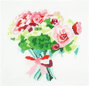 "Pretty Little Bouquet handpainted 13m Needlepoint Canvas 8"" by Jean Smith"