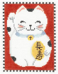Canvas~Oriental LUCKY CAT holding a Golden Charm handpainted Needlepoint Canvas by MBM