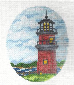 Oval- Gayhead Lighthouse handpainted Needlepoint Canvas by Starke Art from CBK