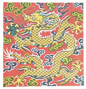 Canvas ~ The Golden Dragon 16x16 on 12 mesh handpainted Needlepoint Canvas by LEE