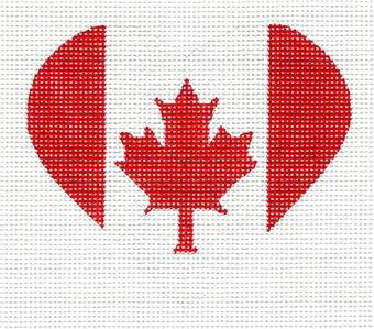 Heart~ Canadian Canada Flag Heart handpainted Needlepoint Canvas by Pepperberry