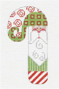 Medium Candy Cane ~Santa in Green handpainted Needlepoint Canvas CH Designs - Danji
