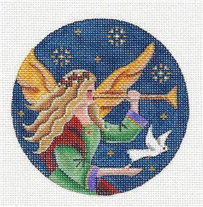 Round ~Angel's White Dove Ornament handpainted Needlepoint Canvas by Rebecca Wood