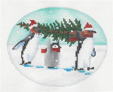 "Oval- ""Mom, Dad & Baby Penguins"" Handpaint Needlepoint Oval Ornament Scott Church"