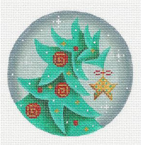 Round ~ Christmas Tree with Star handpainted Needlepoint Canvas by Rebecca Wood