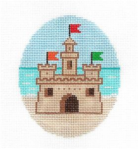 Canvas-Summer Beach Sand Castle handpainted Needlepoint Ornament Canvas by ZIA ~ Danji