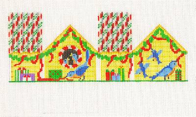 3-D ~ Bluebird Christmas House Ornament handpainted Needlepoint Canvas by S. Roberts
