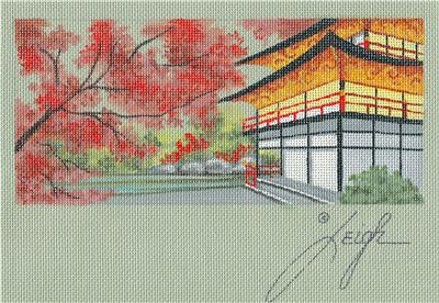 Canvas ~Oriental Tea House Elegant Needlepoint Canvas & STITCH GUIDE by Leigh Design
