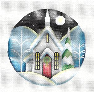 Round ~ Winter Church in Moonlight Ornament handpainted Needlepoint Canvas Rebecca Wood *** MAY NEED TO BE SPECIAL ORDERED***