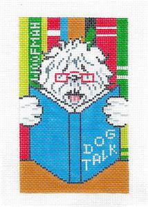 "Canvas Dog~Library Reading ""Dog Talk"" handpainted Needlepoint Canvas ~ BD Insert by LEE"