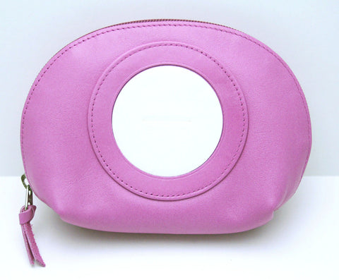 Accessory~LEE Brite Pink Zip Top Leather Cosmetic Case for Needlepoint Canvas