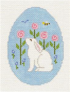 Egg~Rabbit Smelling Flowers Egg handpainted Needlepoint Canvas ~ Susan Roberts