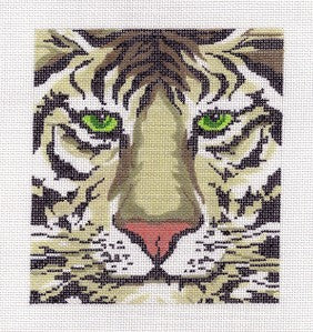 "Canvas~Dramatic Tiger Face ~ 6"" by 5"" handpainted HP Needlepoint Canvas ~ BG size"