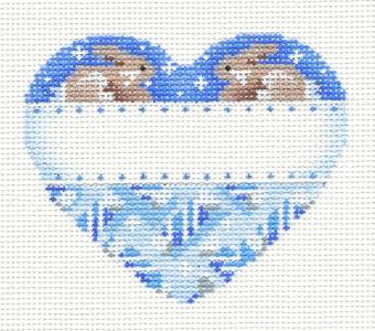 Heart~Blue Baby Boy Heart w/ Bunnies handpainted Needlepoint Ornament Assoc. Talents