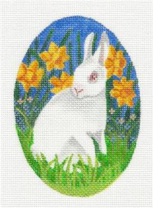 Oval ~ Bunny in Daffodils handpainted Needlepoint Ornament Canvas by LIZ S.Roberts