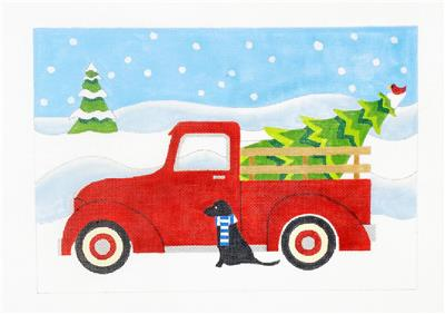 Canvas~ RED PICK-UP TRUCK, Black Lab & Tree HP Needlepoint Canvas Raymond Crawford