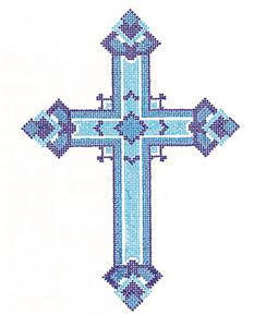 "Cross~ Elegant 7"" tall Multi Blue CROSS handpainted Needlepoint Canvas by LEE"