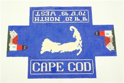 Brick Cover~Cape Cod Brick Cover handpainted Needlepoint Canvas~by Silver Needle