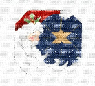 Canvas-Santa & Star 8 Sided handpainted Needlepoint Canvas Ornament Bettieray