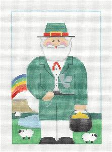 Canvas~IRISH LEPRECHAUN SANTA Needlepoint Canvas & Stitch Guide by Kathy Schenkel