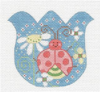 Tulip-Tulip with Flowers & a Ladybug on Handpainted Needlepoint Canvas by Danji Designs