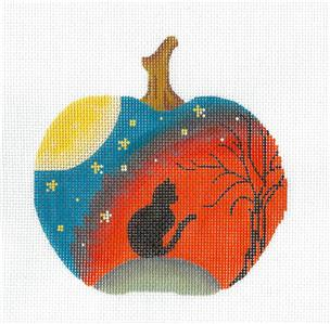 Kelly Clark Canvas – Black Cat on a Halloween Pumpkin handpainted Needlepoint Canvas by Kelly Clark