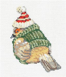 Bird Canvas ~ Brrr ... Sparrow in Knit Sweater and Ski Cap handpainted Needlepoint Canvas by Sandra Gilmore