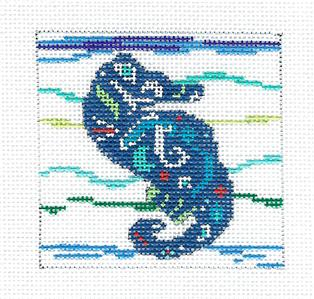 "Canvas-Seahorse in the Waves 3"" handpainted Needlepoint Canvas by BP Designs from Danji"