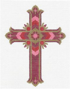 "Cross ~ Elegant 7"" tall Red JEWELS CROSS handpainted Needlepoint Canvas by LEE"