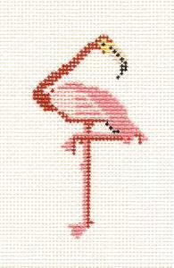 "Canvas~ Pink Flamingo"" handpainted Needlepoint Canvas by Petei Designs Painted Pony  **MAY NEED TO BE SPECIAL ORDERED**"