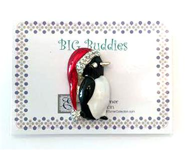 Magnet~BIG NEEDLE BUDDIES ~ PENGUIN in SANTA HAT ~ Needle Holder for Needlepoint