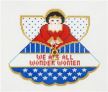 Angel~ We are All Wonder Women Angel & Charm handpainted Needlepoint Canvas Ornament~by Painted Pony ***MAY NEED TO BE SPECIAL ORDERED***