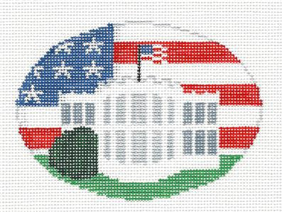 Oval~White House Washington, DC Needlepoint Canvas Oval Ornament Kathy Schenkel ***SPECIAL ORDER***