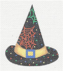 Halloween Cobwebs Witches Hat Needlepoint Canvas by Lainey Daniels ~ Danji