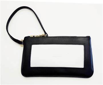 Accessory~Wrist Bag Purse Black Leather BAG 43 for Needlepoint Canvas Insert by LEE
