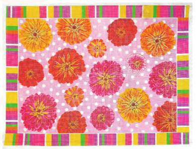Rug~LG. Bright Zinnia's in Shades of Pinks & Yellows by LEE NeedleArts ~ 12m