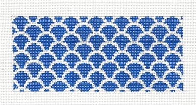 "Canvas Insert~Dark Blue and White Design handpainted ""BB"" Needlepoint Canvas by SOS from LEE"